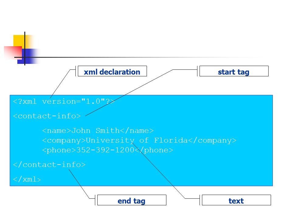 John Smith University of Florida 352-392-1200 xml declarationstart tag end tag text