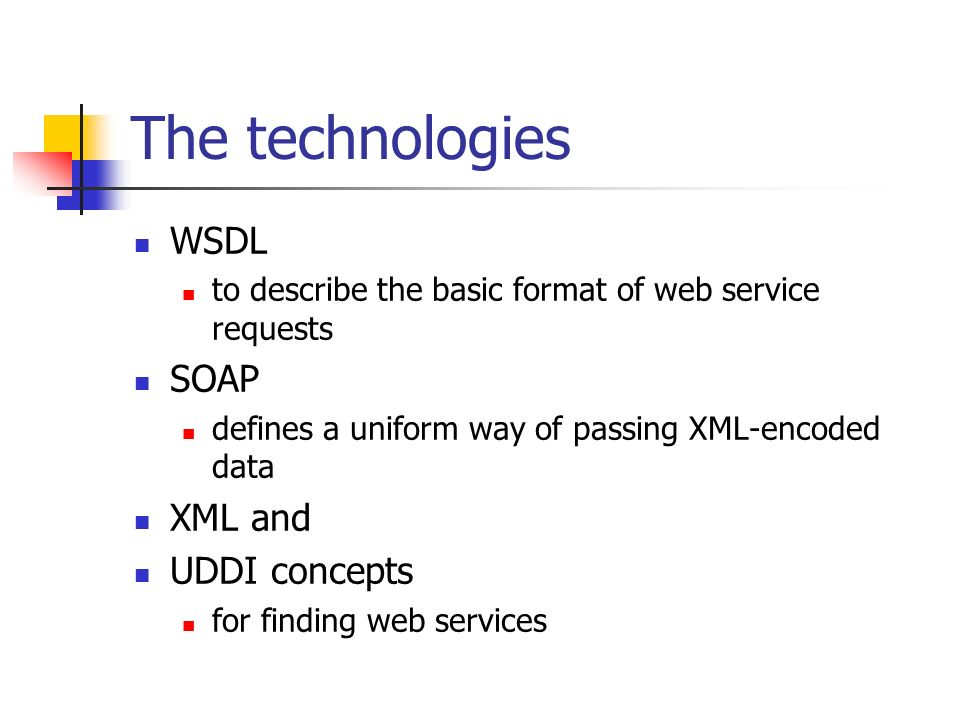 The technologies WSDL to describe the basic format of web service requests SOAP defines a uniform way of passing XML-encoded data XML and UDDI concepts for finding web services