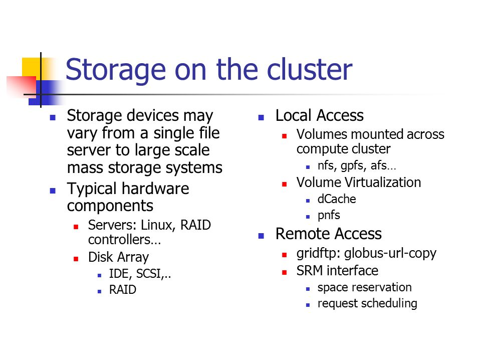 Storage on the cluster Storage devices may vary from a single file server to large scale mass storage systems Typical hardware components Servers: Linux, RAID controllers… Disk Array IDE, SCSI,..
