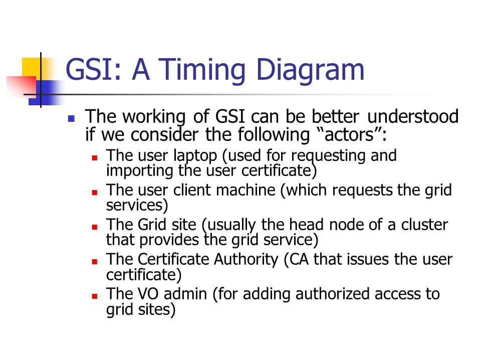 GSI: A Timing Diagram The working of GSI can be better understood if we consider the following actors : The user laptop (used for requesting and importing the user certificate) The user client machine (which requests the grid services) The Grid site (usually the head node of a cluster that provides the grid service) The Certificate Authority (CA that issues the user certificate) The VO admin (for adding authorized access to grid sites)