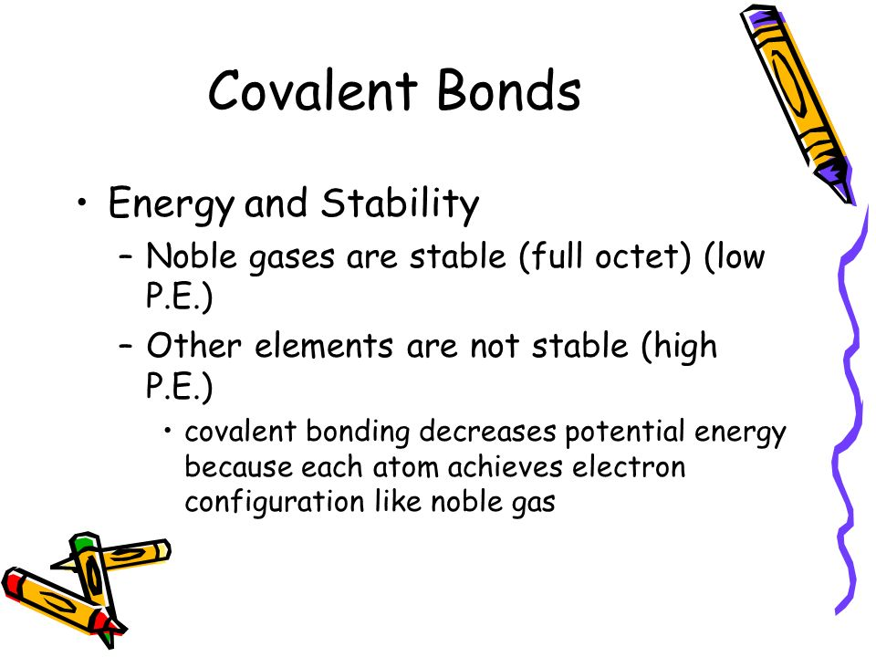 Covalent Bonds Energy and Stability –Noble gases are stable (full octet) (low P.E.) –Other elements are not stable (high P.E.) covalent bonding decreases potential energy because each atom achieves electron configuration like noble gas