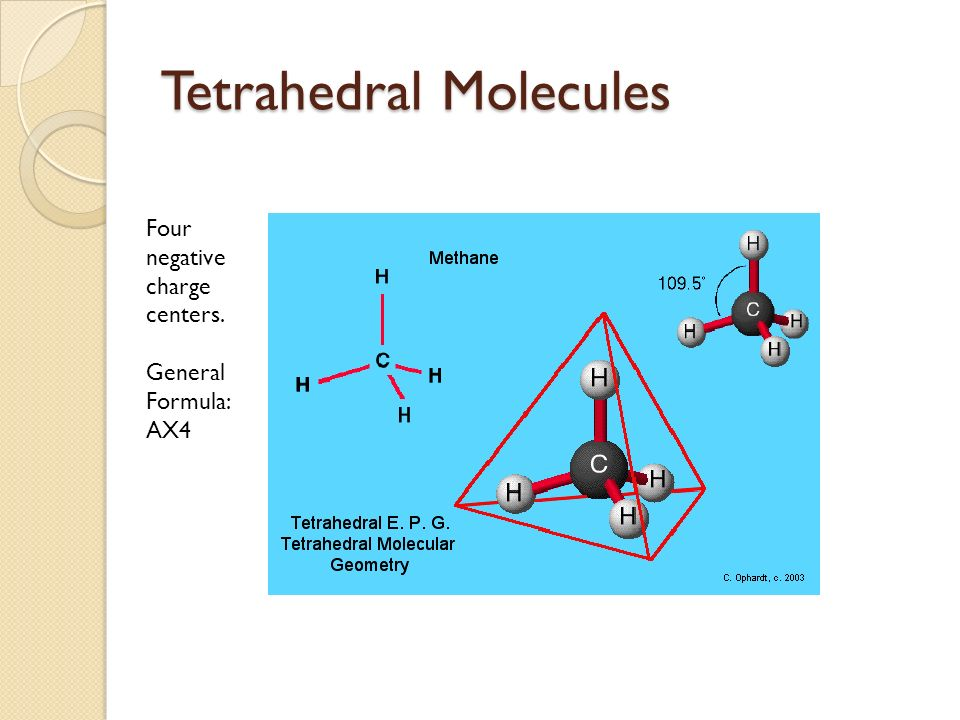 Tetrahedral Molecules Four negative charge centers. General Formula: AX4