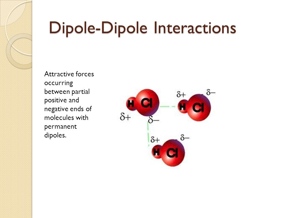 Dipole-Dipole Interactions Attractive forces occurring between partial positive and negative ends of molecules with permanent dipoles.