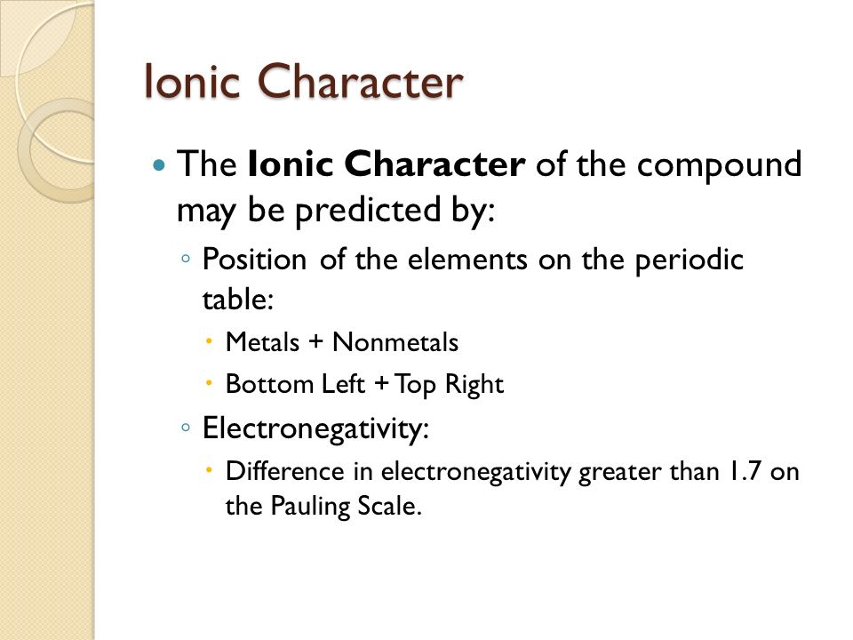 Ionic Character The Ionic Character of the compound may be predicted by: ◦ Position of the elements on the periodic table:  Metals + Nonmetals  Bottom Left + Top Right ◦ Electronegativity:  Difference in electronegativity greater than 1.7 on the Pauling Scale.