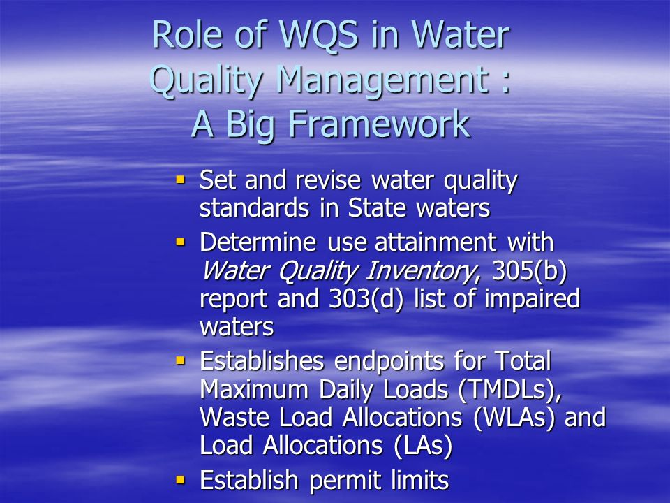 Role of WQS in Water Quality Management : A Big Framework  Set and revise water quality standards in State waters  Determine use attainment with Water Quality Inventory, 305(b) report and 303(d) list of impaired waters  Establishes endpoints for Total Maximum Daily Loads (TMDLs), Waste Load Allocations (WLAs) and Load Allocations (LAs)  Establish permit limits