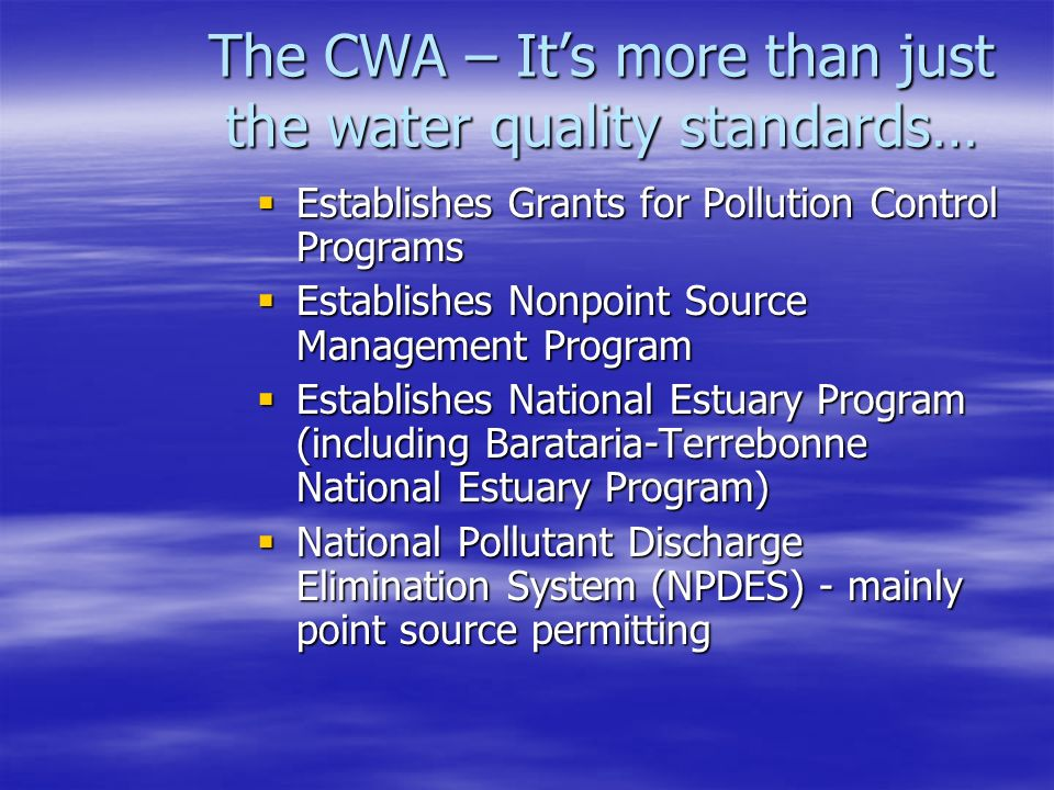 The CWA – It's more than just the water quality standards…  Establishes Grants for Pollution Control Programs  Establishes Nonpoint Source Management Program  Establishes National Estuary Program (including Barataria-Terrebonne National Estuary Program)  National Pollutant Discharge Elimination System (NPDES) - mainly point source permitting