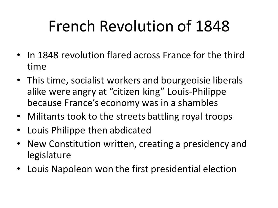 What major events helped cause the French Revolution in 1848?