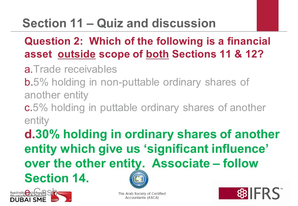 The Arab Society of Certified Accountants (ASCA) Section 11 – Quiz and discussion Question 2: Which of the following is a financial asset outside scope of both Sections 11 & 12.