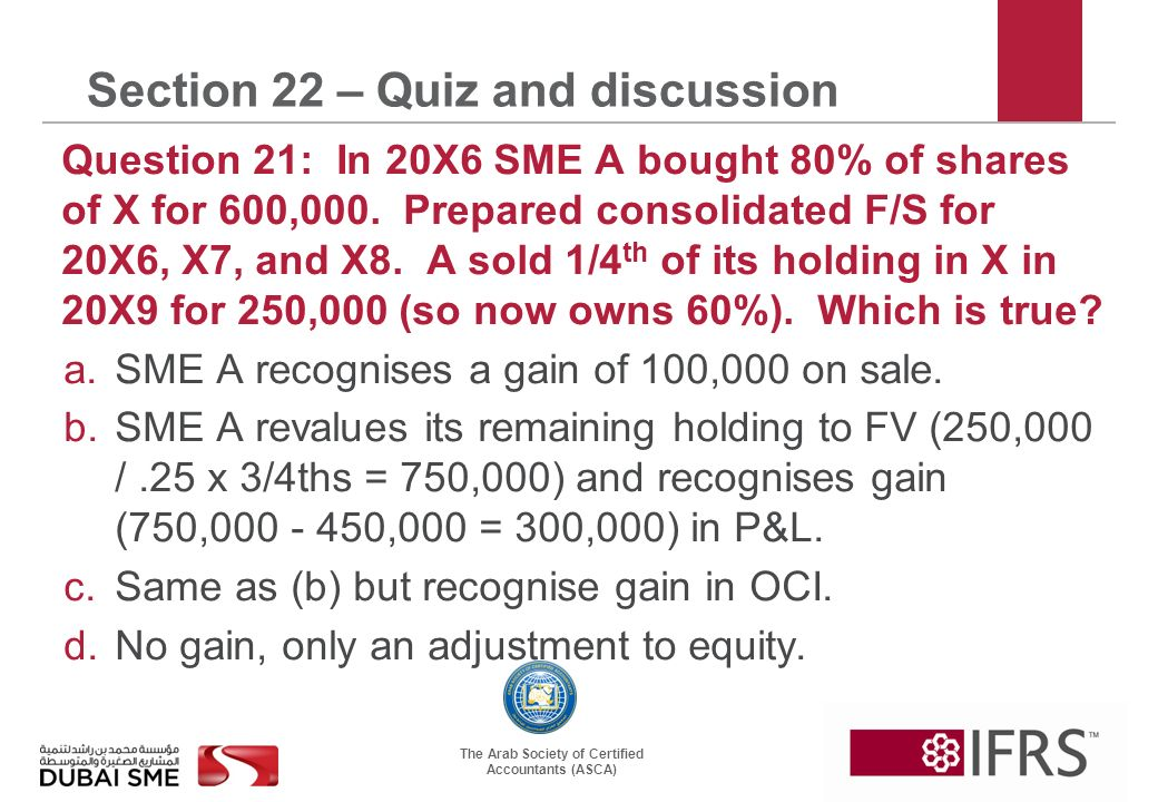 The Arab Society of Certified Accountants (ASCA) Section 22 – Quiz and discussion Question 21: In 20X6 SME A bought 80% of shares of X for 600,000.