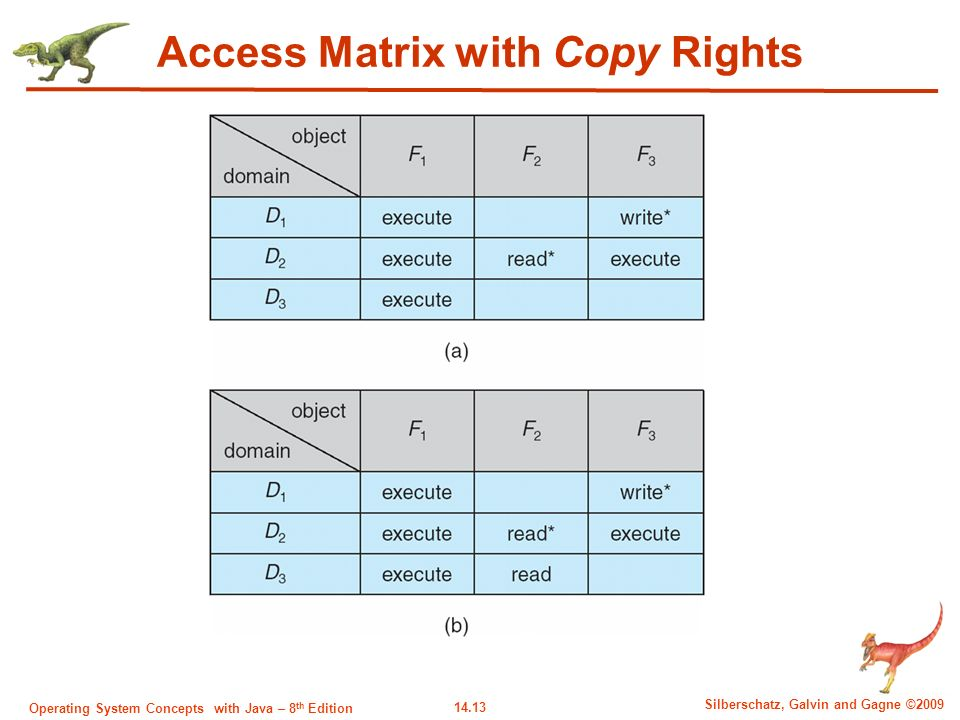 14.13 Silberschatz, Galvin and Gagne ©2009 Operating System Concepts with Java – 8 th Edition Access Matrix with Copy Rights