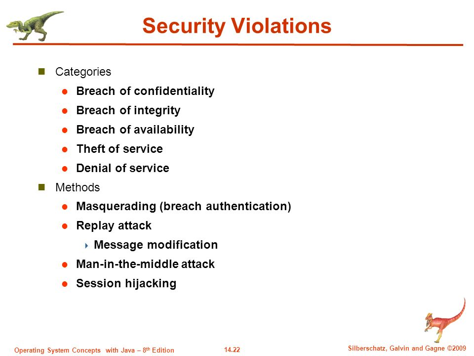 14.22 Silberschatz, Galvin and Gagne ©2009 Operating System Concepts with Java – 8 th Edition Security Violations Categories Breach of confidentiality Breach of integrity Breach of availability Theft of service Denial of service Methods Masquerading (breach authentication) Replay attack  Message modification Man-in-the-middle attack Session hijacking