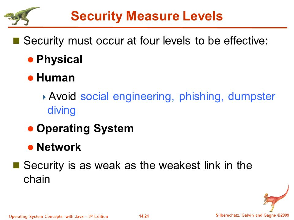14.24 Silberschatz, Galvin and Gagne ©2009 Operating System Concepts with Java – 8 th Edition Security Measure Levels Security must occur at four levels to be effective: Physical Human  Avoid social engineering, phishing, dumpster diving Operating System Network Security is as weak as the weakest link in the chain