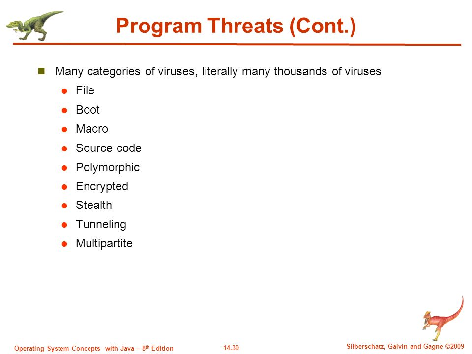14.30 Silberschatz, Galvin and Gagne ©2009 Operating System Concepts with Java – 8 th Edition Program Threats (Cont.) Many categories of viruses, literally many thousands of viruses File Boot Macro Source code Polymorphic Encrypted Stealth Tunneling Multipartite