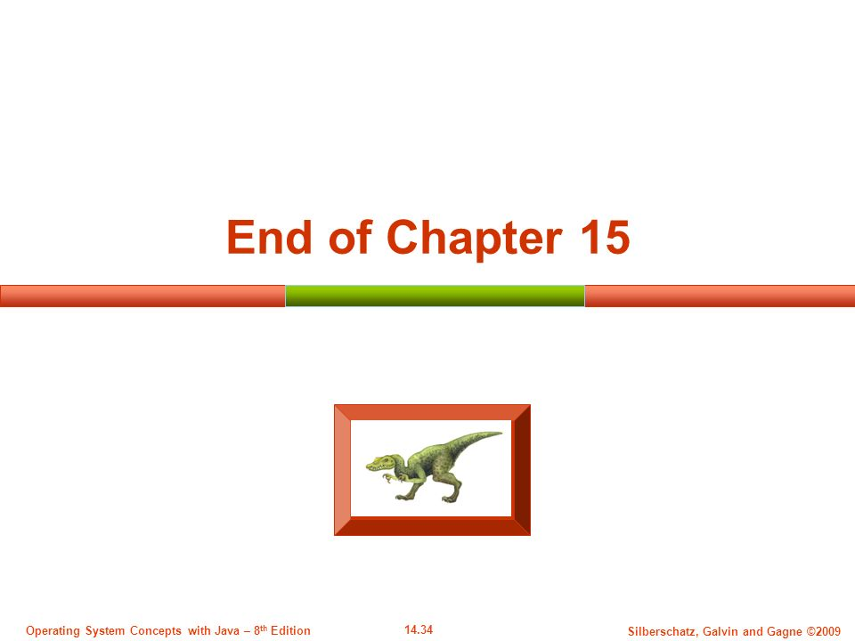14.34 Silberschatz, Galvin and Gagne ©2009 Operating System Concepts with Java – 8 th Edition End of Chapter 15