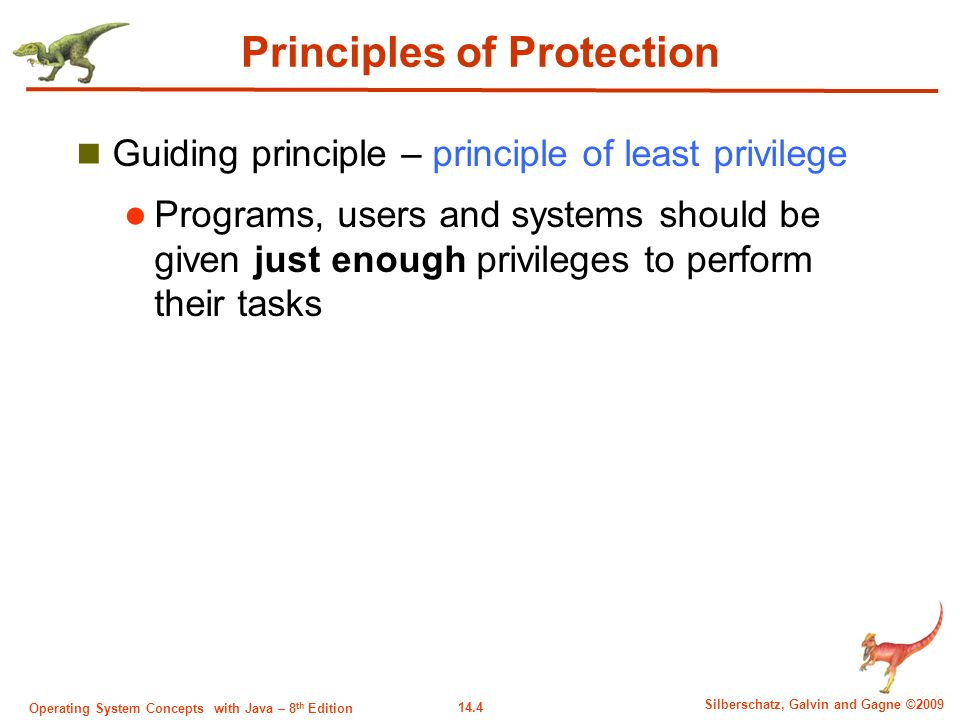 14.4 Silberschatz, Galvin and Gagne ©2009 Operating System Concepts with Java – 8 th Edition Principles of Protection Guiding principle – principle of least privilege Programs, users and systems should be given just enough privileges to perform their tasks