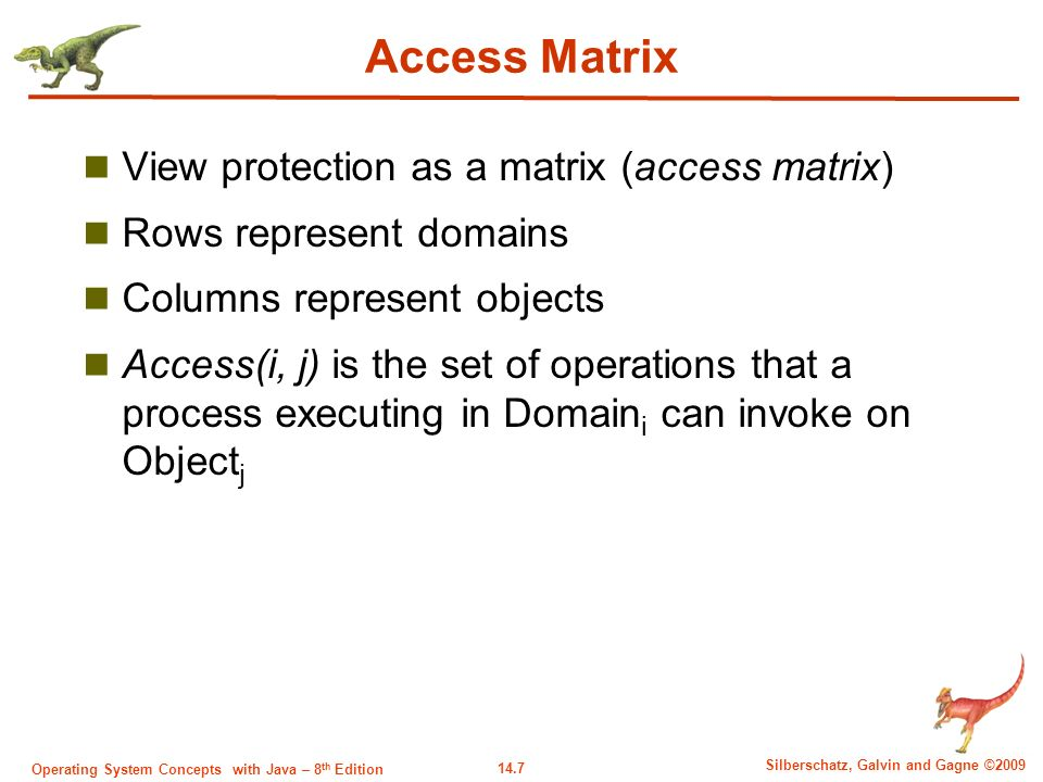 14.7 Silberschatz, Galvin and Gagne ©2009 Operating System Concepts with Java – 8 th Edition Access Matrix View protection as a matrix (access matrix) Rows represent domains Columns represent objects Access(i, j) is the set of operations that a process executing in Domain i can invoke on Object j