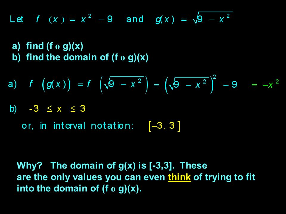 Composition of Functions : just another way to combine functions… If f(x) = x 2 and g(x) = x + 1, then the composition of f with g is: (f o g)(x) - pronounced the f of the g of x .