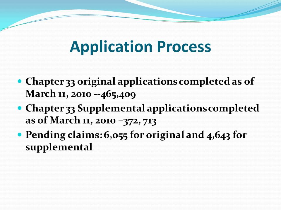 Application Process Chapter 33 original applications completed as of March 11, ,409 Chapter 33 Supplemental applications completed as of March 11, 2010 –372, 713 Pending claims: 6,055 for original and 4,643 for supplemental