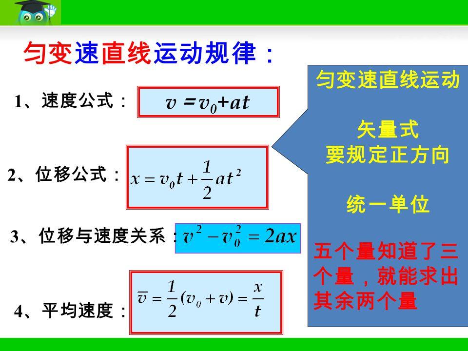 2 、位移公式: 1 、速度公式: v = v 0 +at 匀变速直线运动规律: 4 、平均速度: 匀变速直线运动 矢量式 要规定正方向 统一单位 五个量知道了三 个量,就能求出 其余两个量 3 、位移与速度关系: