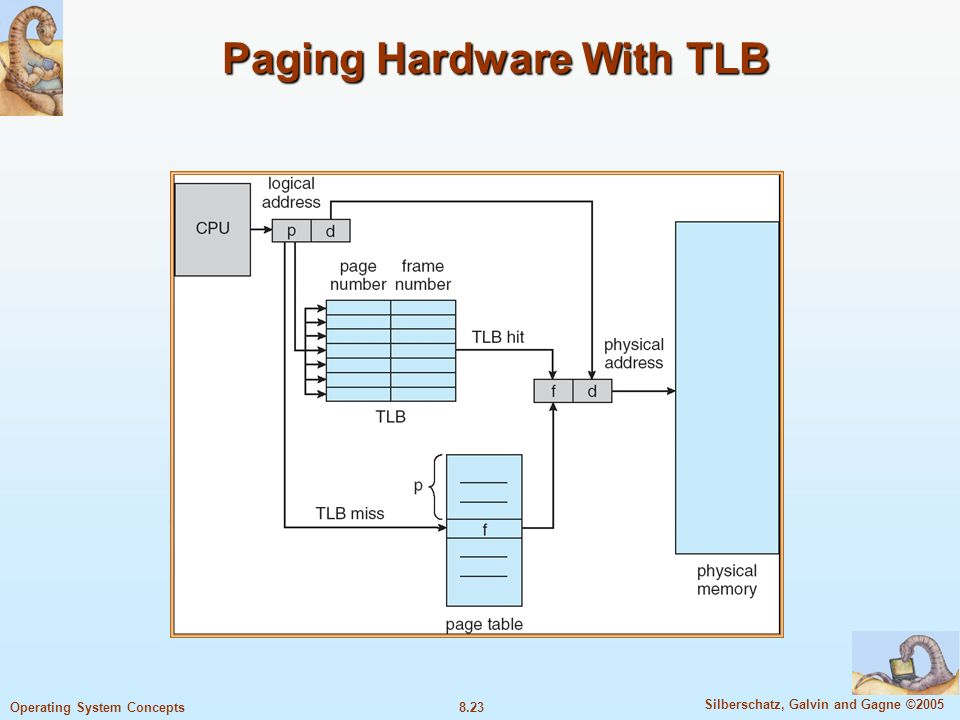 8.23 Silberschatz, Galvin and Gagne ©2005 Operating System Concepts Paging Hardware With TLB