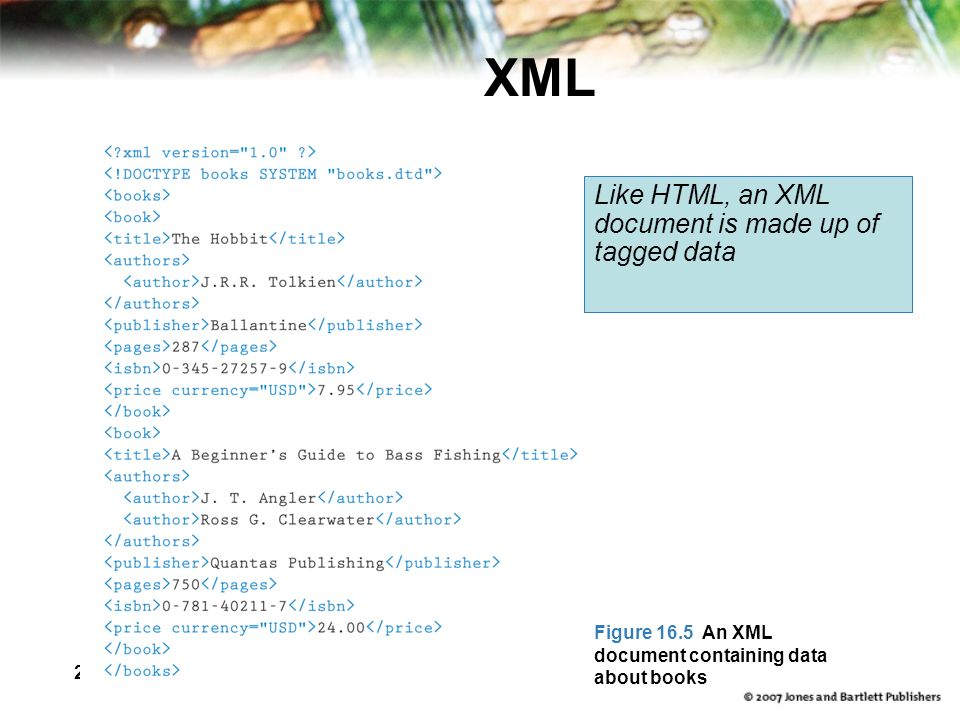 26 XML Like HTML, an XML document is made up of tagged data Figure 16.5 An XML document containing data about books