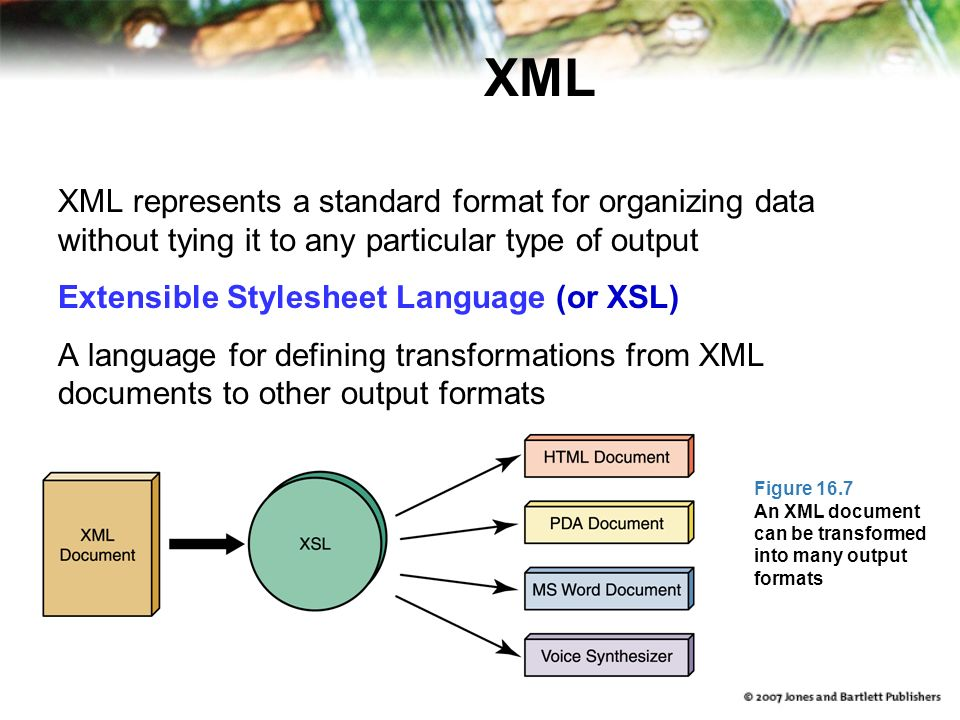 XML XML represents a standard format for organizing data without tying it to any particular type of output Extensible Stylesheet Language (or XSL) A language for defining transformations from XML documents to other output formats Figure 16.7 An XML document can be transformed into many output formats