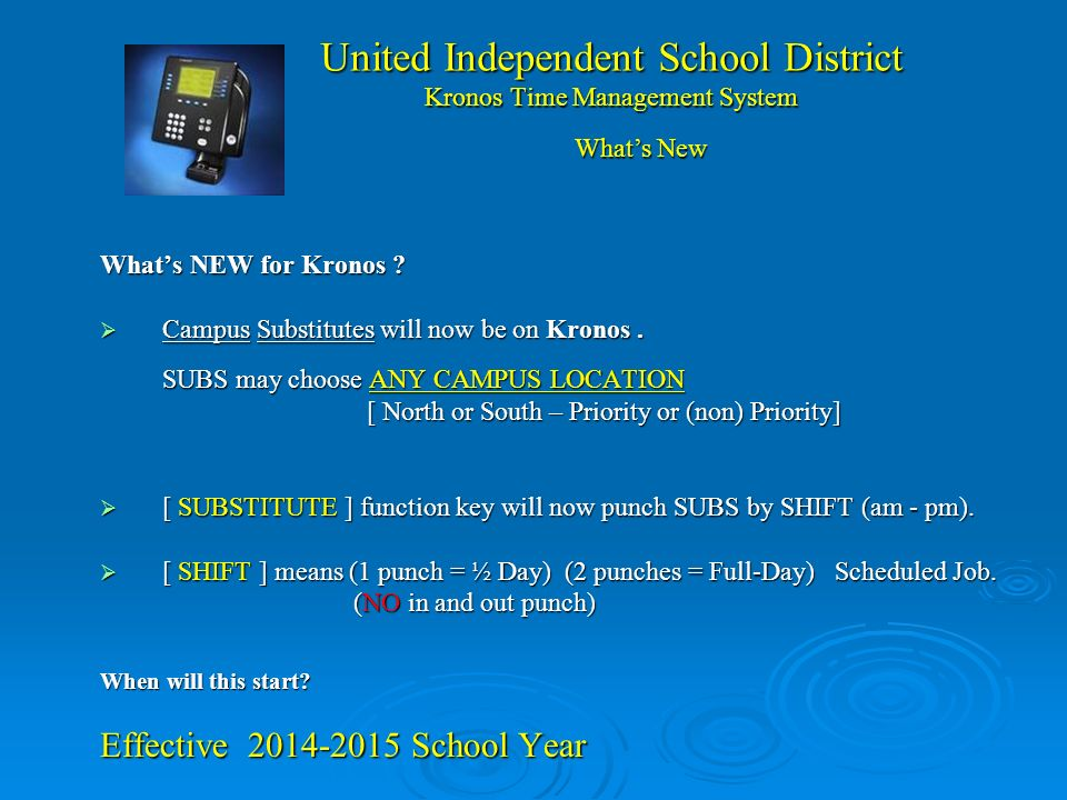 United Independent School District Kronos Time Management System ...