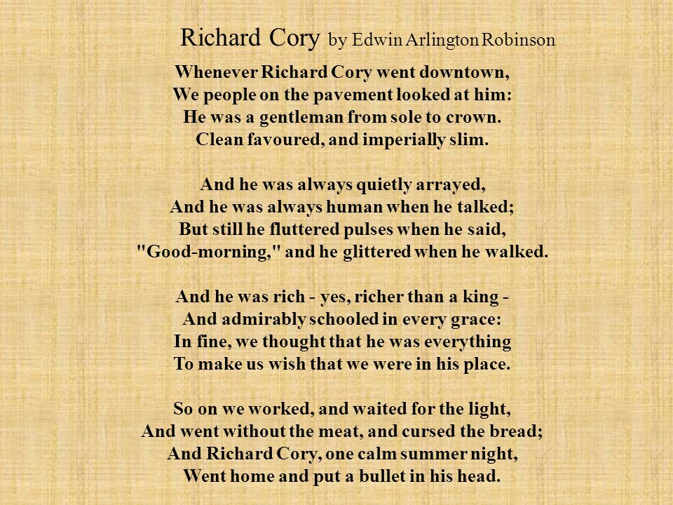 people of the pavement fascinates richard cory in a poem by edwin arlington robinson