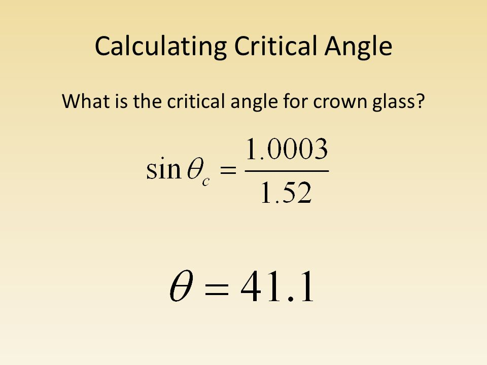 Calculating Critical Angle What is the critical angle for crown glass