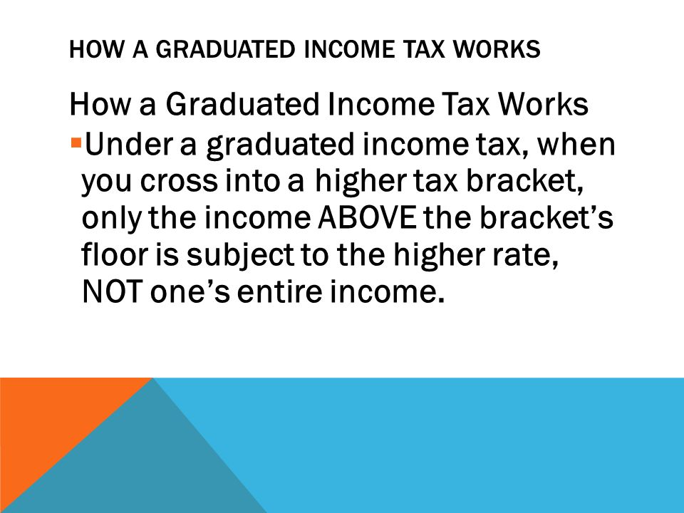 HOW A GRADUATED INCOME TAX WORKS How a Graduated Income Tax Works  Under a graduated income tax, when you cross into a higher tax bracket, only the income ABOVE the bracket's floor is subject to the higher rate, NOT one's entire income.