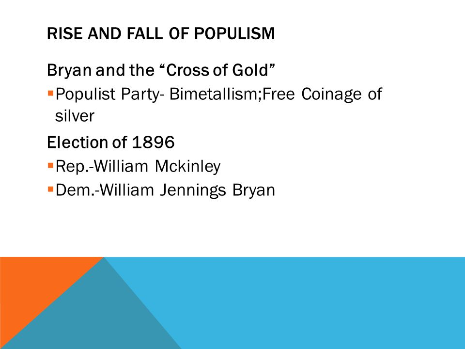 RISE AND FALL OF POPULISM Bryan and the Cross of Gold  Populist Party- Bimetallism;Free Coinage of silver Election of 1896  Rep.-William Mckinley  Dem.-William Jennings Bryan