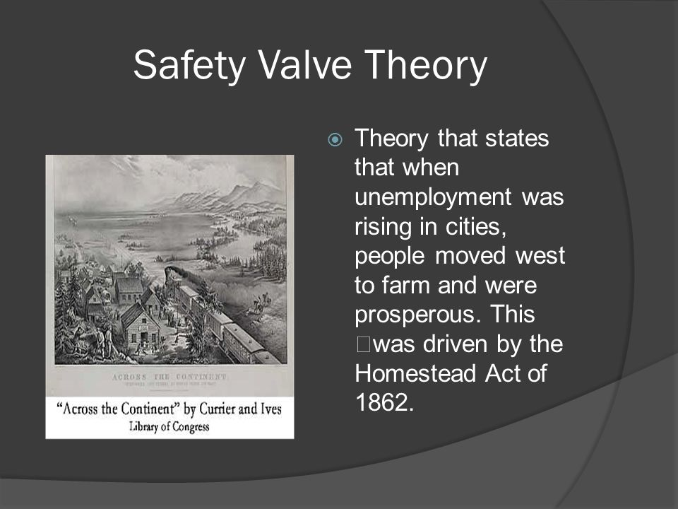 Safety Valve Theory  Theory that states that when unemployment was rising in cities, people moved west to farm and were prosperous.