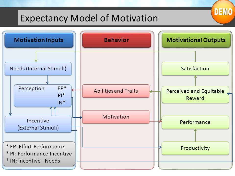 Expectancy Model of Motivation Motivation Inputs Behavior Motivational Outputs Needs (Internal Stimuli) Perception EP* PI* IN* Perception EP* PI* IN*