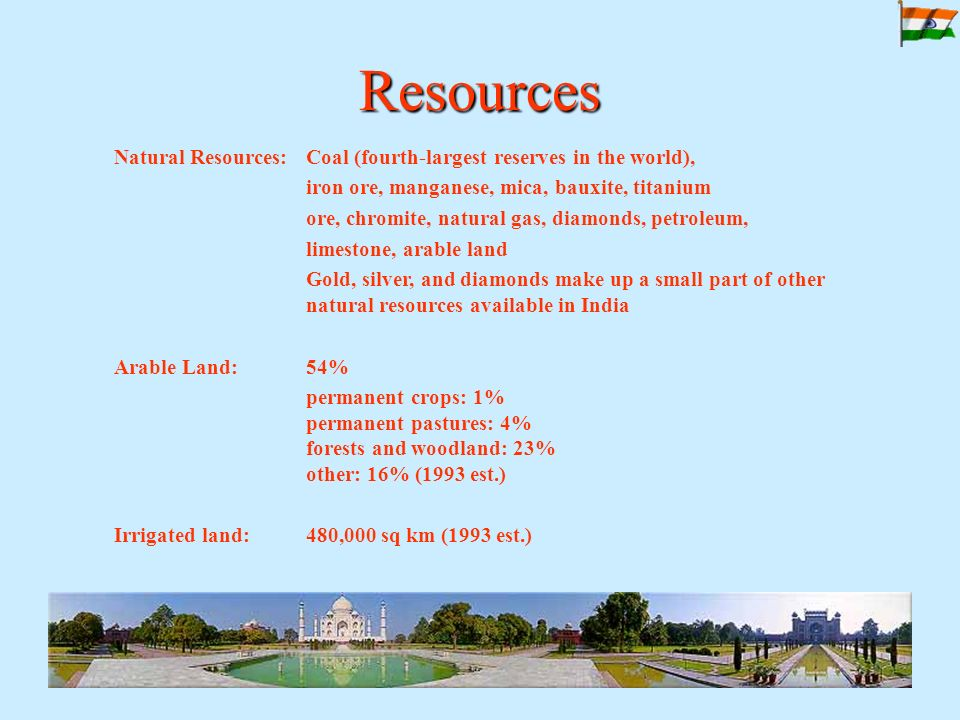 Resources Natural Resources: Coal (fourth-largest reserves in the world), iron ore, manganese, mica, bauxite, titanium ore, chromite, natural gas, diamonds, petroleum, limestone, arable land Gold, silver, and diamonds make up a small part of other natural resources available in India Arable Land: 54% permanent crops: 1% permanent pastures: 4% forests and woodland: 23% other: 16% (1993 est.) Irrigated land: 480,000 sq km (1993 est.)