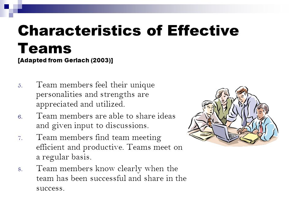 Characteristics of Effective Teams [Adapted from Gerlach (2003)] 5.