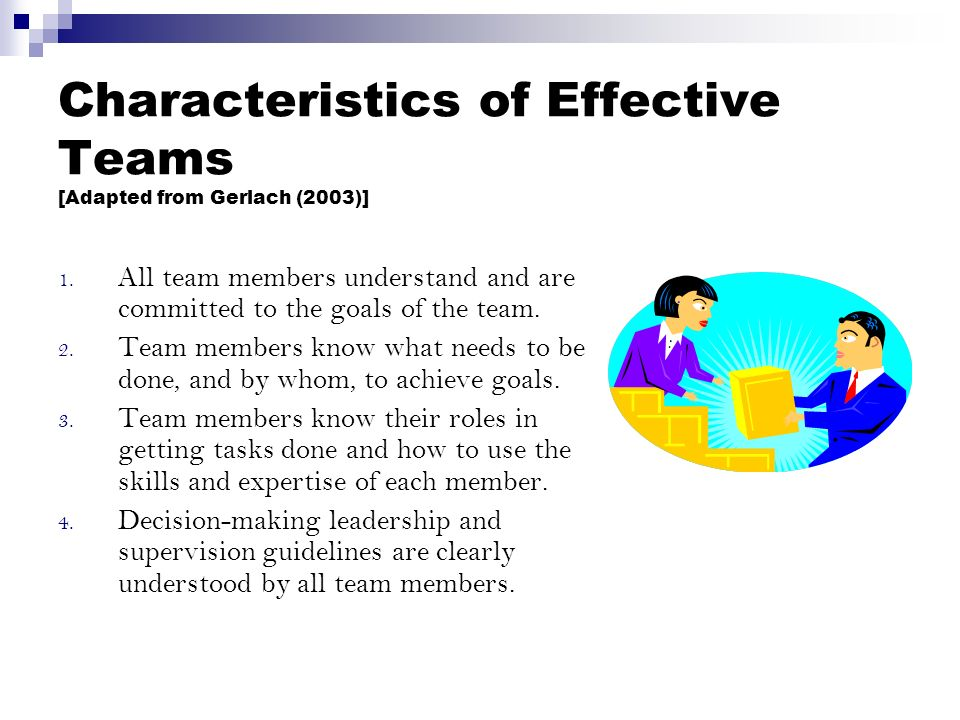 Characteristics of Effective Teams [Adapted from Gerlach (2003)] 1.