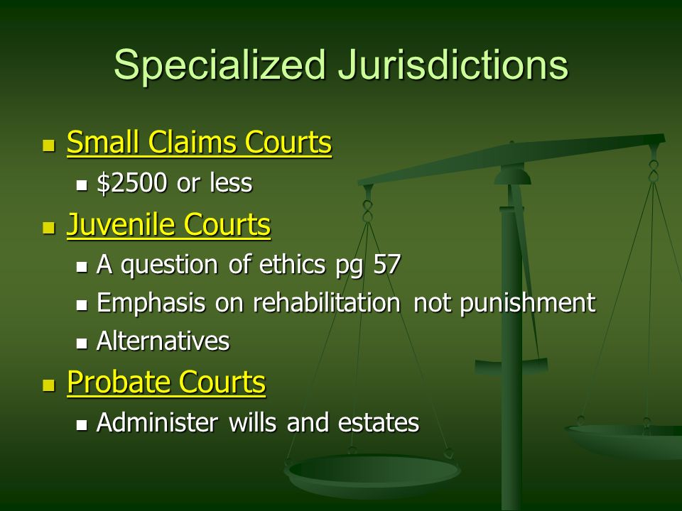 Specialized Jurisdictions Small Claims Courts Small Claims Courts $2500 or less $2500 or less Juvenile Courts Juvenile Courts A question of ethics pg 57 A question of ethics pg 57 Emphasis on rehabilitation not punishment Emphasis on rehabilitation not punishment Alternatives Alternatives Probate Courts Probate Courts Administer wills and estates Administer wills and estates