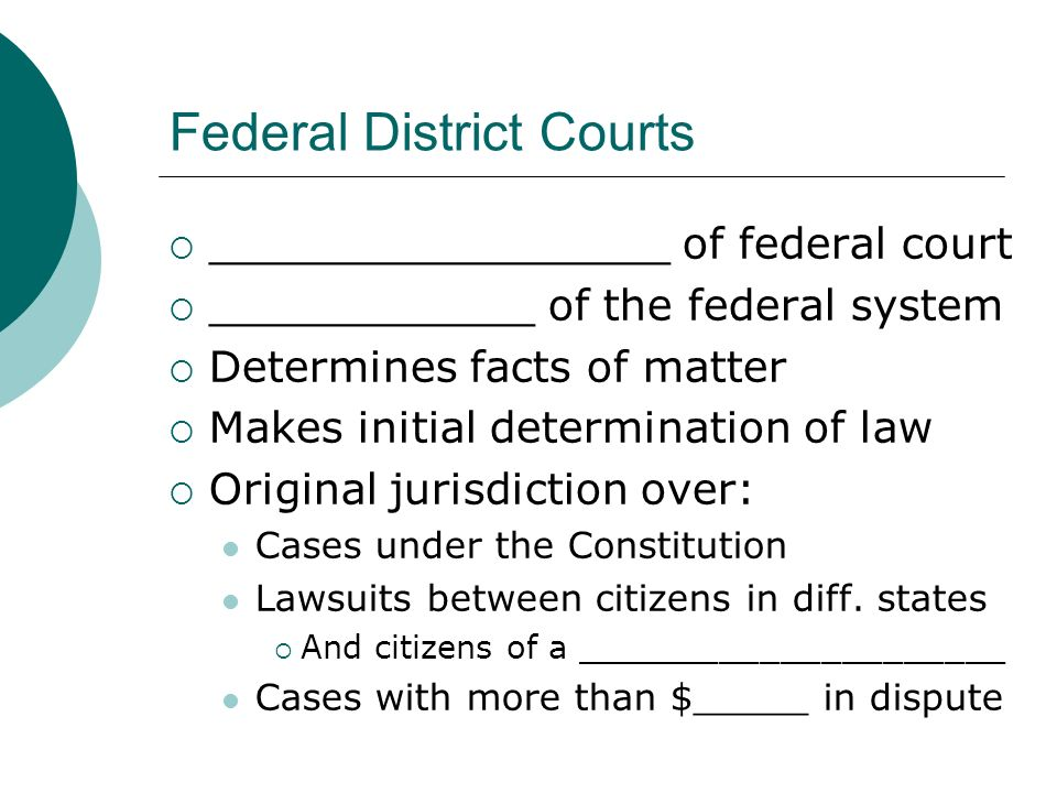 Federal District Courts  _________________ of federal court  ____________ of the federal system  Determines facts of matter  Makes initial determination of law  Original jurisdiction over: Cases under the Constitution Lawsuits between citizens in diff.