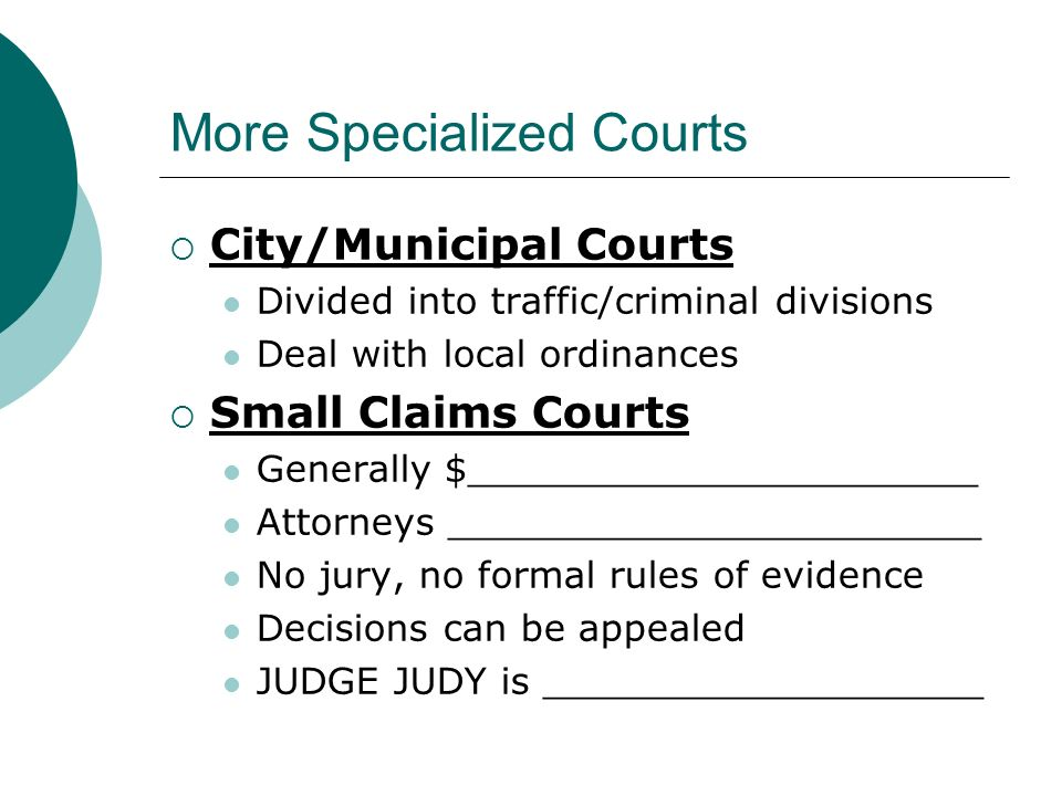 More Specialized Courts  City/Municipal Courts Divided into traffic/criminal divisions Deal with local ordinances  Small Claims Courts Generally $______________________ Attorneys _______________________ No jury, no formal rules of evidence Decisions can be appealed JUDGE JUDY is ___________________