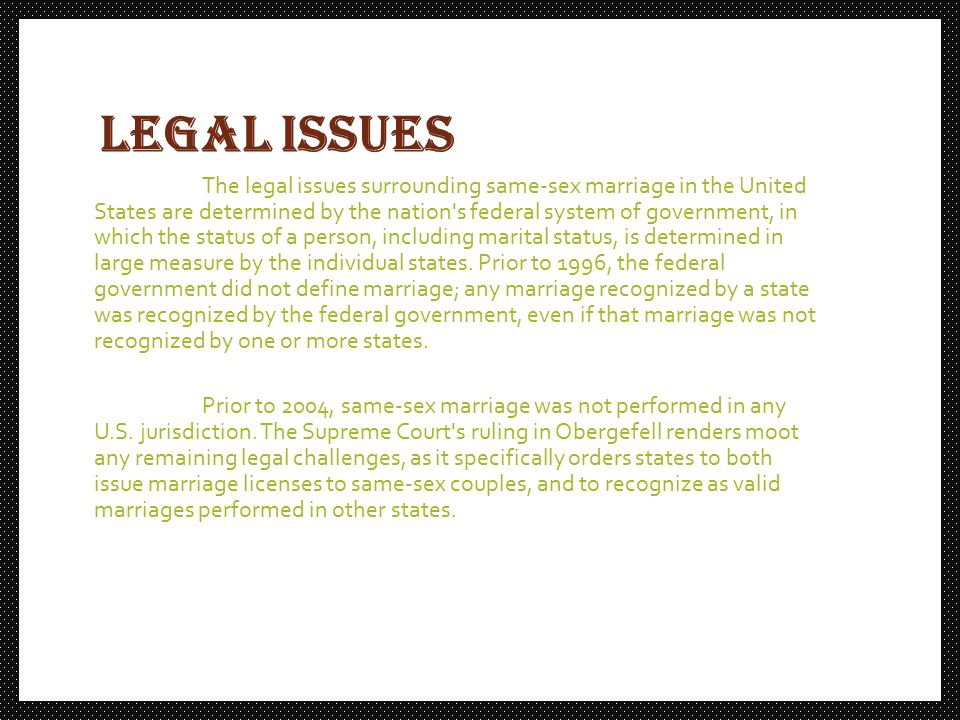 ethical issues surrounding gay marriage 2 essay This argumentative essay on legalizing gay marriage describes why the issue of same-sex marriage is not only research paper on gay marriage:.