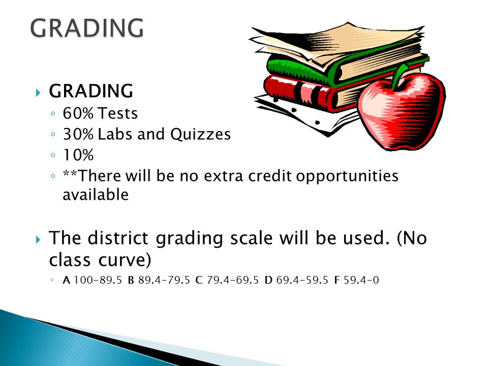  GRADING ◦ 60% Tests ◦ 30% Labs and Quizzes ◦ 10% ◦ **There will be no extra credit opportunities available  The district grading scale will be used.