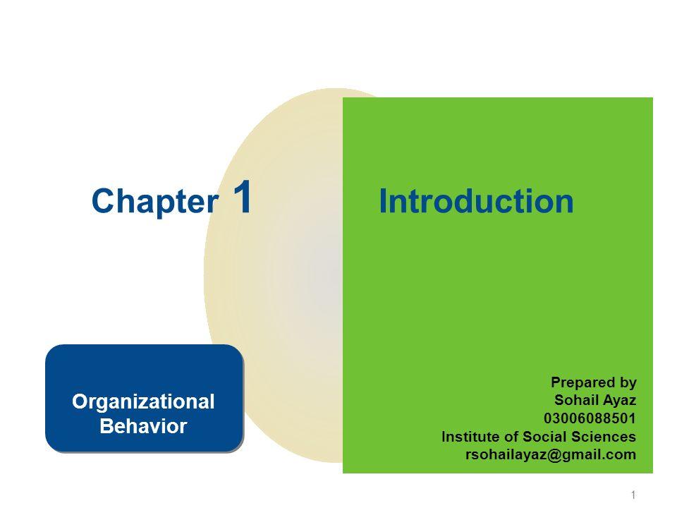 1 Chapter 1 Introduction Prepared by Sohail Ayaz 03006088501 Institute of Social Sciences rsohailayaz@gmail.com Organizational Behavior