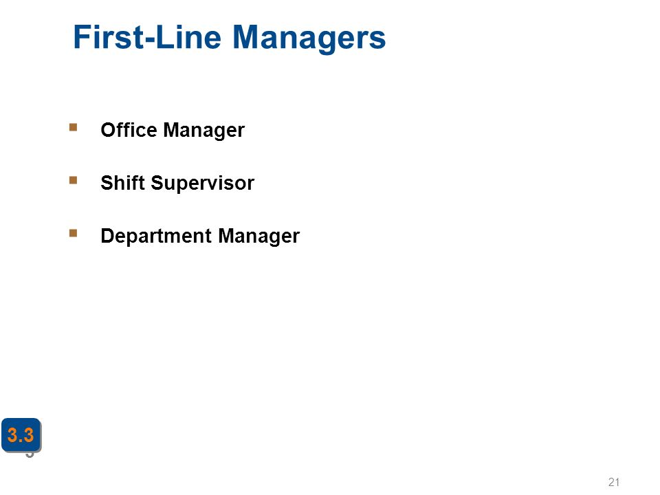 21 First-Line Managers 3 3.3  Office Manager  Shift Supervisor  Department Manager