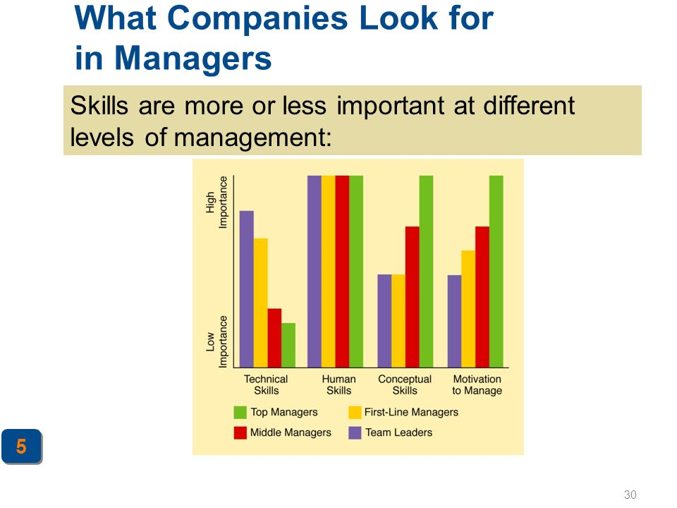 30 What Companies Look for in Managers 5 5 Skills are more or less important at different levels of management:
