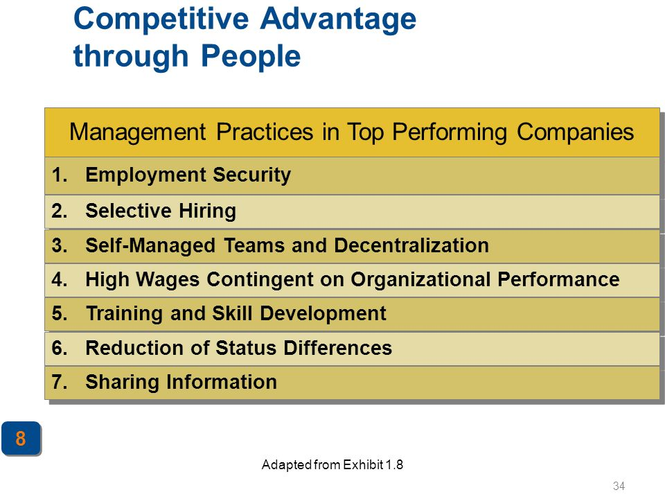 34 Management Practices in Top Performing Companies Competitive Advantage through People Adapted from Exhibit 1.8 1. Employment Security 2. Selective