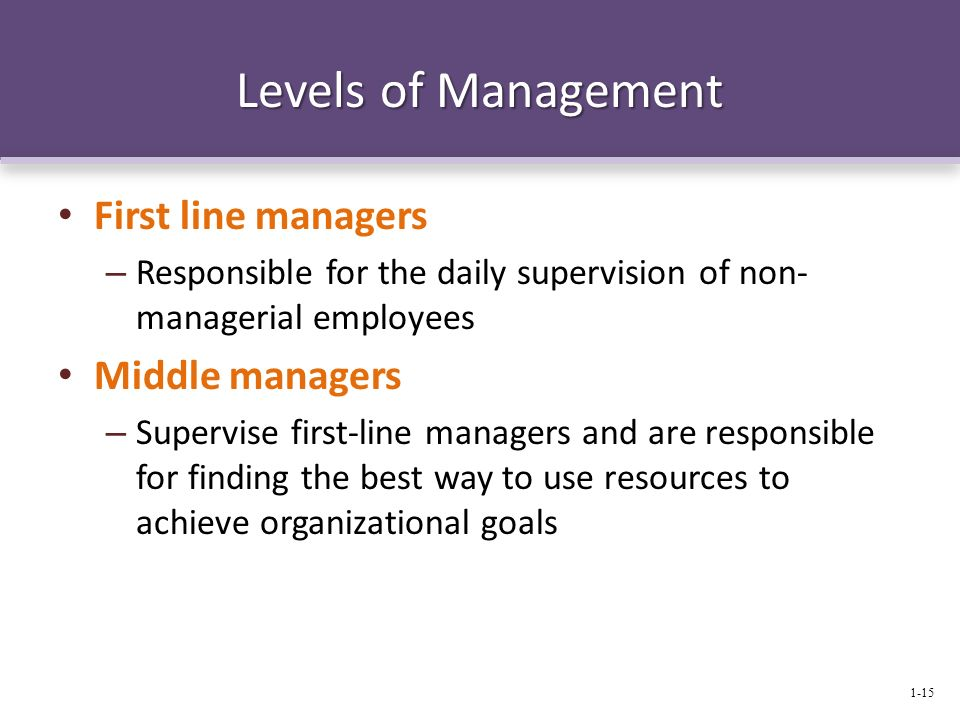 Levels of Management First line managers – Responsible for the daily supervision of non- managerial employees Middle managers – Supervise first-line m