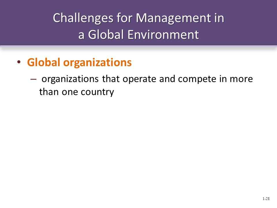 Challenges for Management in a Global Environment Global organizations – organizations that operate and compete in more than one country 1-28