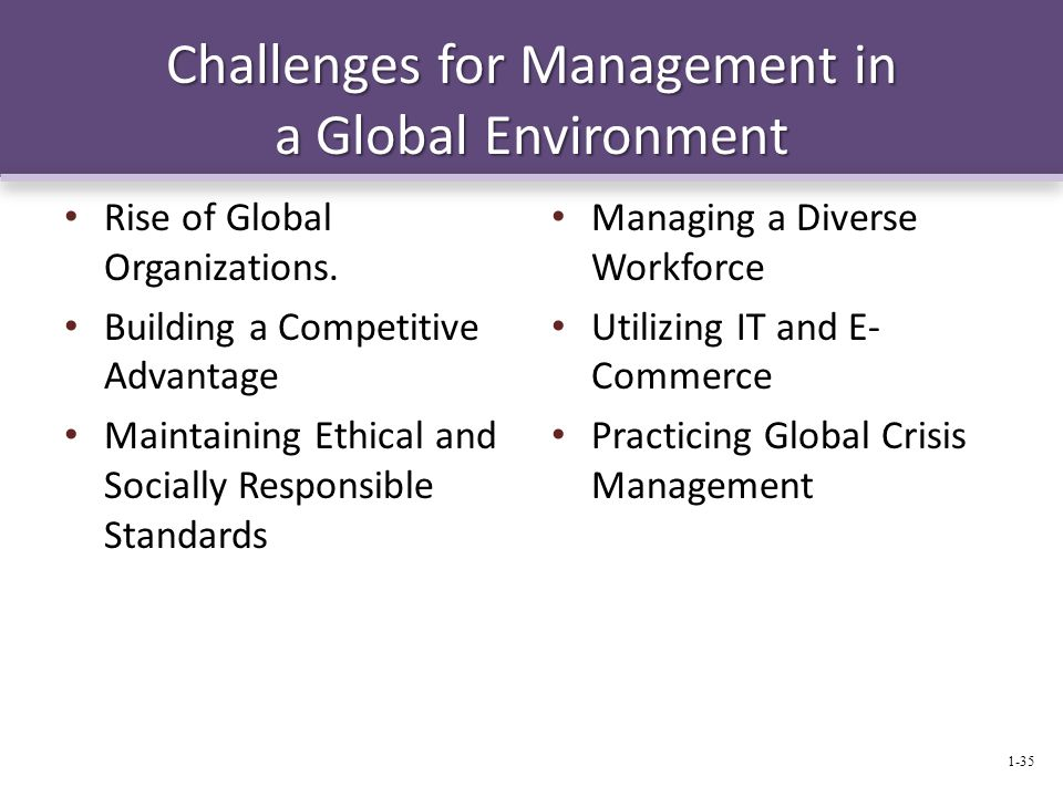 Challenges for Management in a Global Environment Rise of Global Organizations.