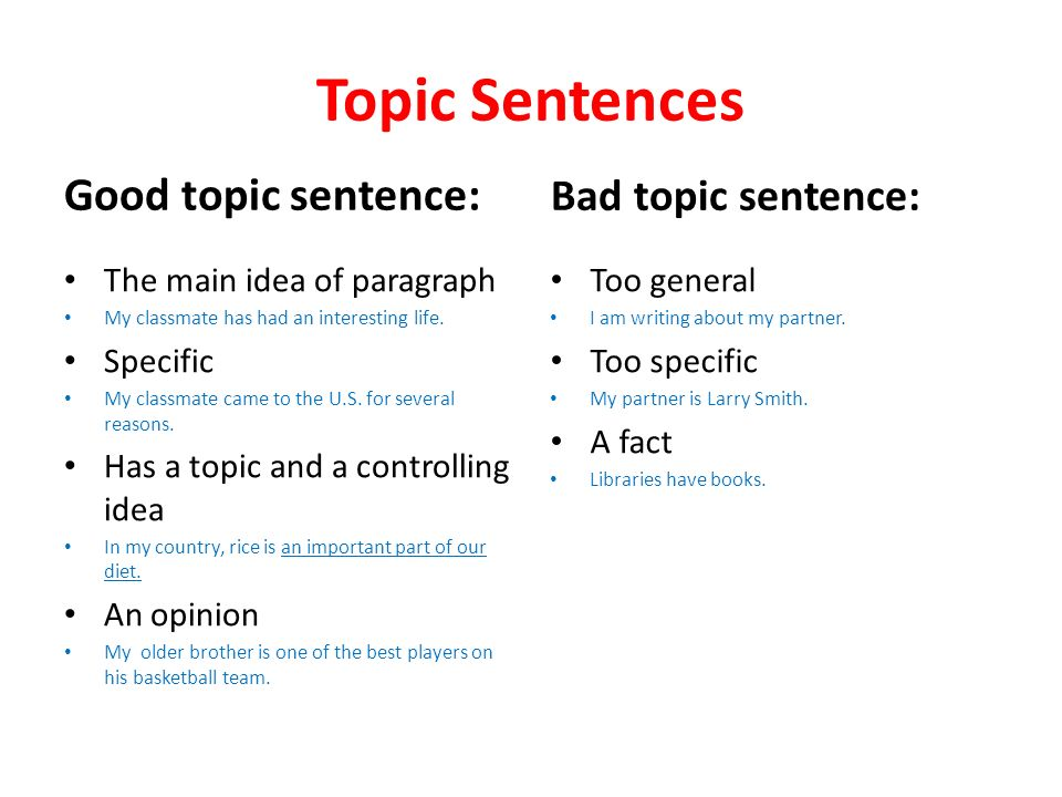 topic sentences types of paragraphs and essays descriptive  topic sentences good topic sentence the main idea of paragraph my classmate has had an