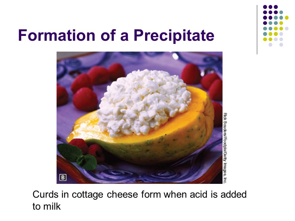 Formation of a Precipitate Curds in cottage cheese form when acid is added to milk